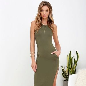 Lulu's Olive Green Maxi with Pockets! NWT